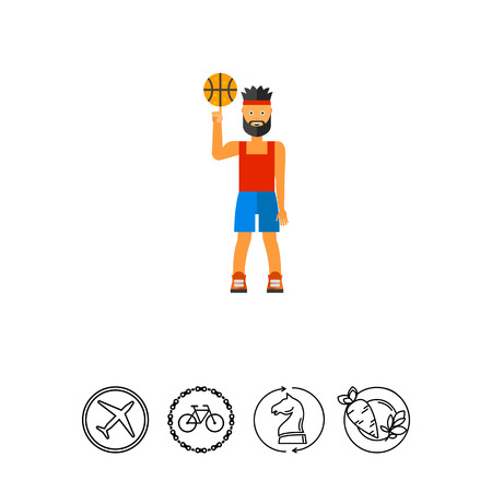 Illustration of basketball player spinning ball. Basketball game, sportsman, sport. Basketball game concept. Can be used for topics like sport, basketball game, leisure activity Illustration