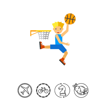 Basketball player throwing ball in hoop. Basketball game, sport, leisure activity. Team game concept. Can be used for topics like sport, basketball game, leisure activity