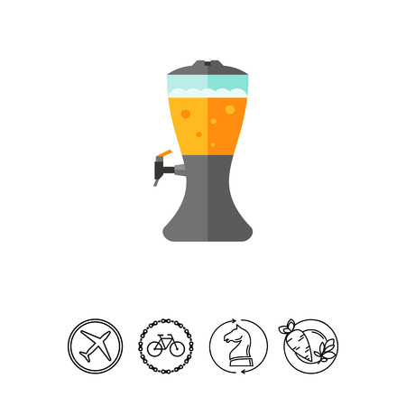 Icon of beer dispenser. Frothy drink, equipment, kegerator, pouring. Beer concept. Can be used for topics like draft beer, beverage or pub Illustration