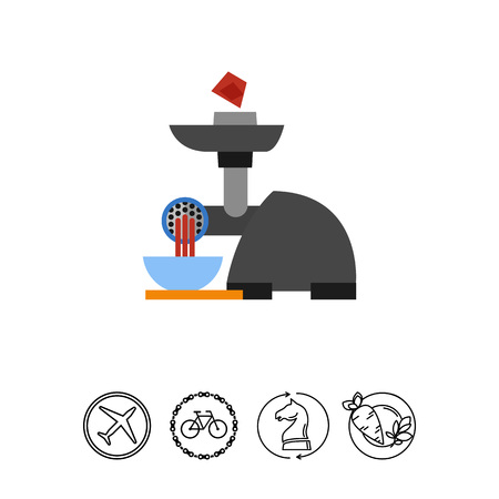 Electric meat grinder vector icon
