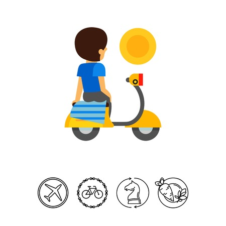 Handkerchief on moped for butt cheeks icon