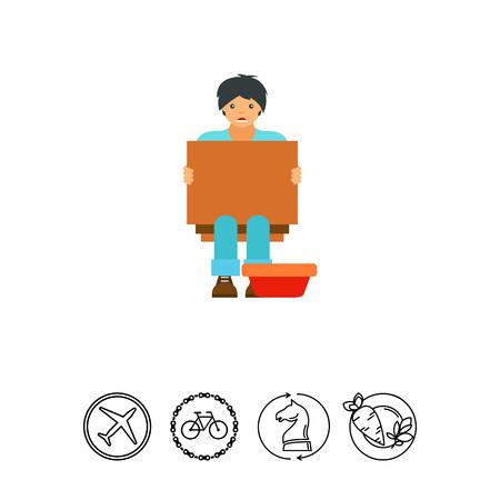 Homeless beggar icon