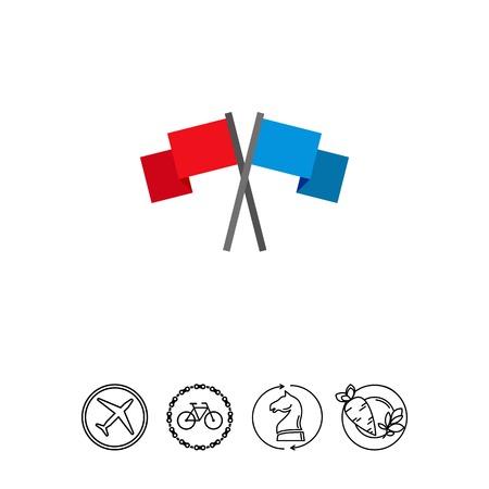Paintball team flags vector icon