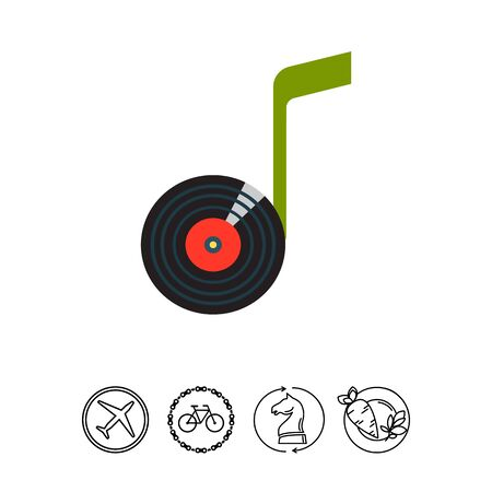 logo music: Note Vinyl Disk Icon Illustration