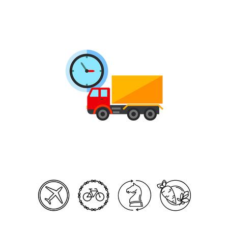 carretilla de mano: Truck and clock Icon