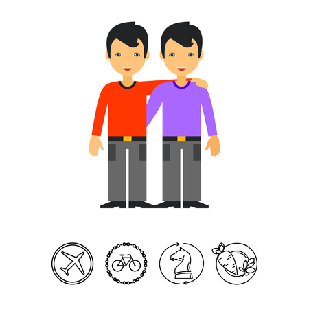 Two Hugging Male Friends Icon Illustration