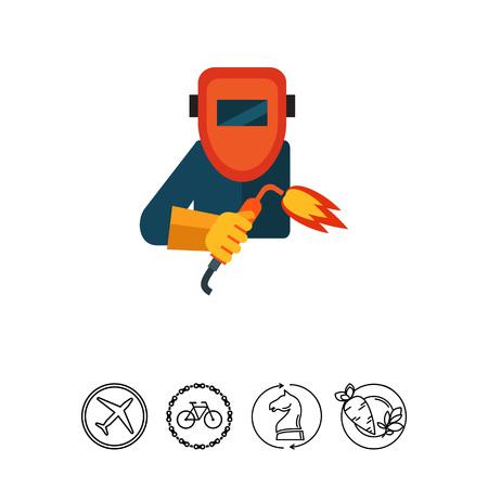Welding worker in mask