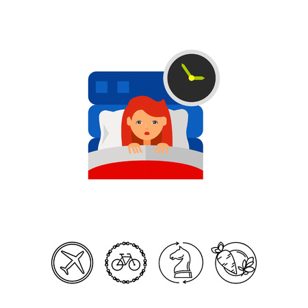 hands  hour: Woman in Bed as Insomnia Concept Icon
