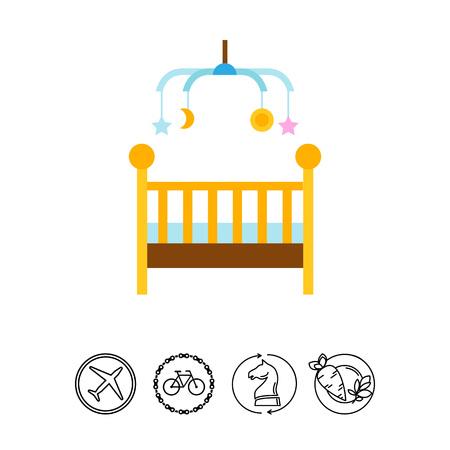 Icône de lit bébé Vecteurs