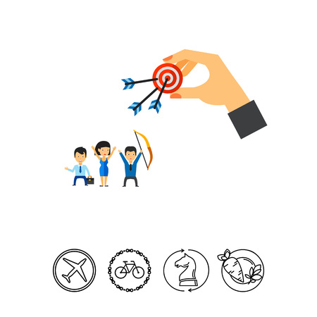 Business People Hit Target Together Icon Illustration
