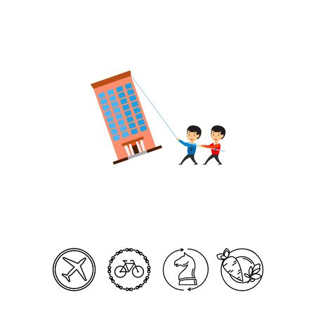 Business Team Pulling Company up Icon Illustration