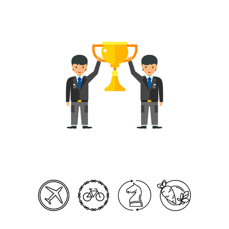 Businessmen holding teamwork cup icon Stock Vector - 79546874