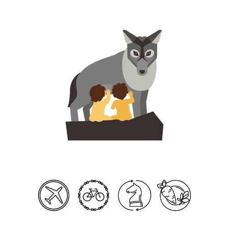 the topics: Vector icon of Capitoline wolf feeding two children. Rome, Greek myth, ancient Greece. Civilization concept. Can be used for topics like ancient history, ancient legends, Greek history