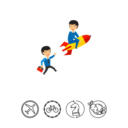 Businessman on rocket and another businessman pursuing him. Project, leader, idea. Business competition concept. Can be used for topics like business, technology, marketing. Stock Photo