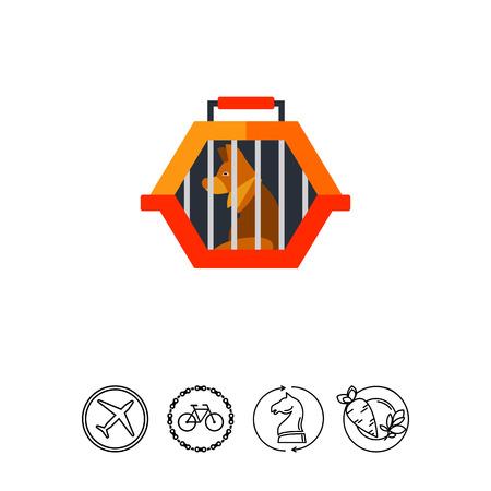 Pet travel crate icon Illustration
