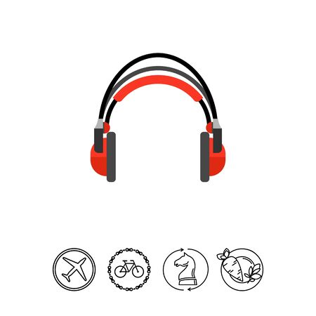 Icon of red headphones. Audio, radio, podcast. Music concept. Can be used for topics like entertainment, accessory, production