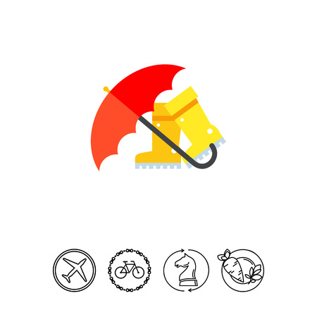 Vector icon of red umbrella and yellow rain boots. Rain, autumn, sludge. Spring concept. Can be used for topics like season, weather, accessory
