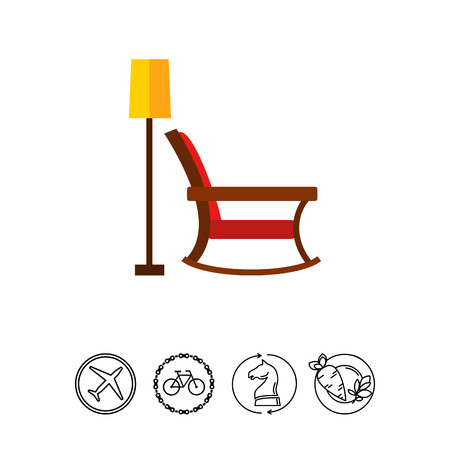 lounging: Icon of rocking chair and floor lamp. Decoration, relaxation, furniture. Comfort concept. Can be used for topics like interior, home, resting Illustration