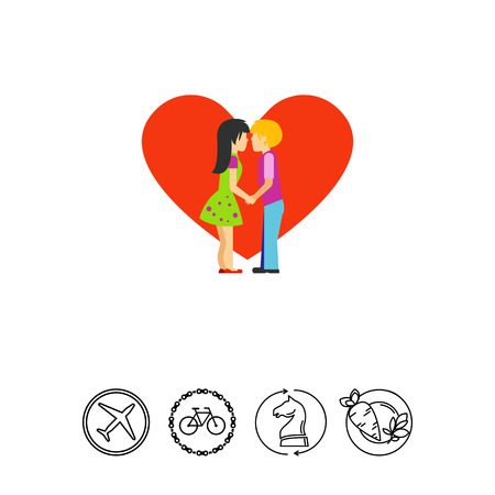 Silhouette of kissing people vector icon