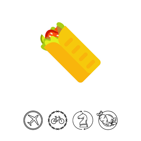 Shawarma with vegetables icon Illustration