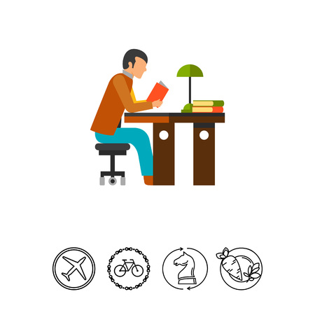 Student reading icon Illustration
