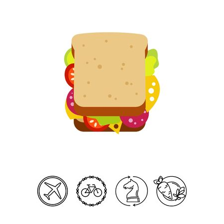 Icon of sandwich. Snack, appetite, roll. Fast food concept. Can be used for topics like cafe, diet, lunch