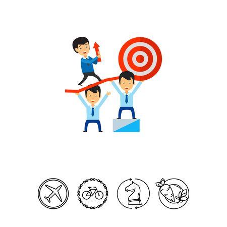 Teamwork leading to success, business people holding target. Goal, collaboration, strategy. Teamwork concept. Can be used for topics like business, teamwork, planning, management.
