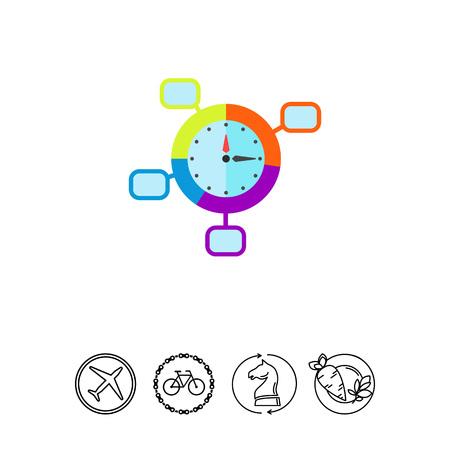 puntualidad: Time Control Concept and Clock Icon Vectores
