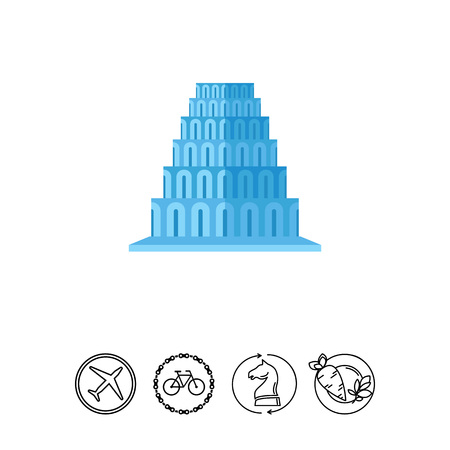 ancient civilization: Tower of Babel vector icon Illustration