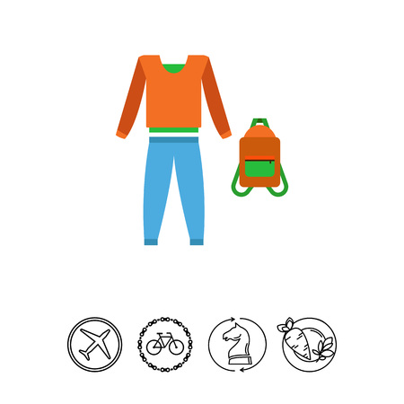 Tracksuit of trousers, sweater, backpack