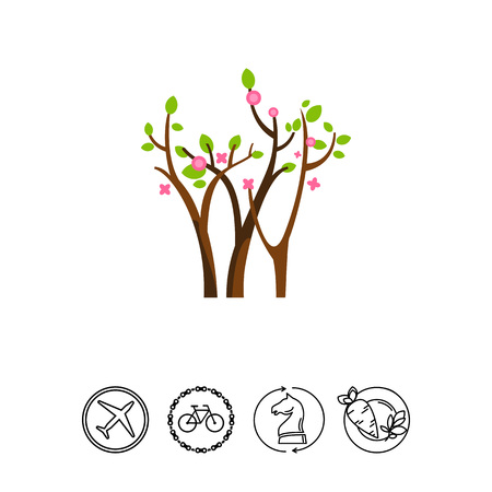springtime: Trees blossoming in spring icon