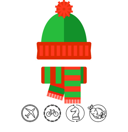 Winter knit hat and scarf vector icon Illustration