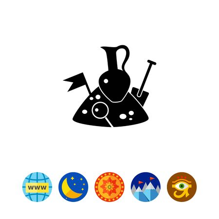 Monochrome vector icon of jug, spade, flag and loupe on pile of soil representing archeology concept