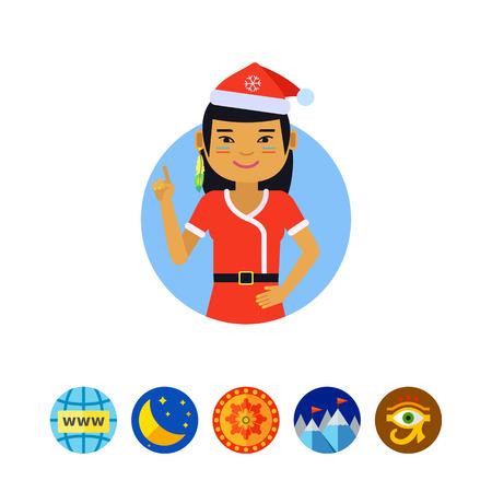Asian teenage girl in Santa costume Illustration