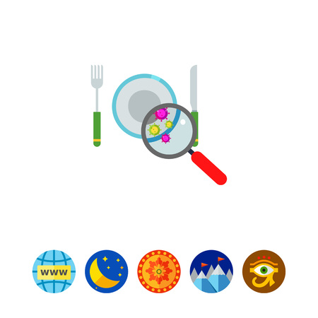 Bacteria on Plate Vector Icon Illustration
