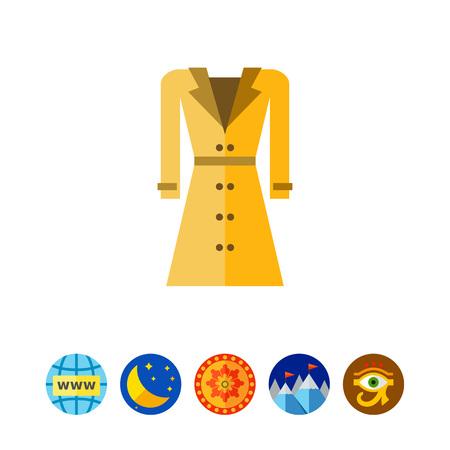 Multicolored vector icon of woman coat