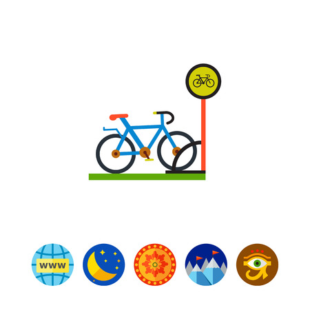 Bicycle Parking Flat Icon Illustration