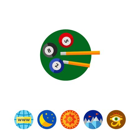 cue ball: Billiard Balls and Cues Icon Illustration
