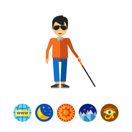infirmity: Blind Man with Cane Icon Illustration