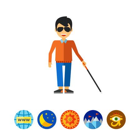 incapacitated: Blind Man with Cane Icon Illustration