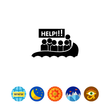 Boat with Refugees Asking for Help Icon
