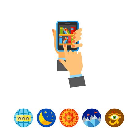 Bookshelves with Books on Smartphone Icon Illustration