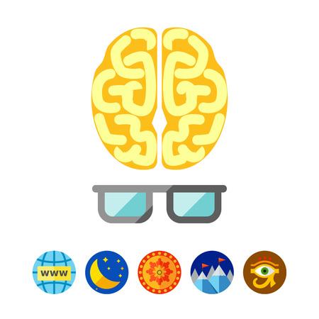 Brain with glasses Illustration