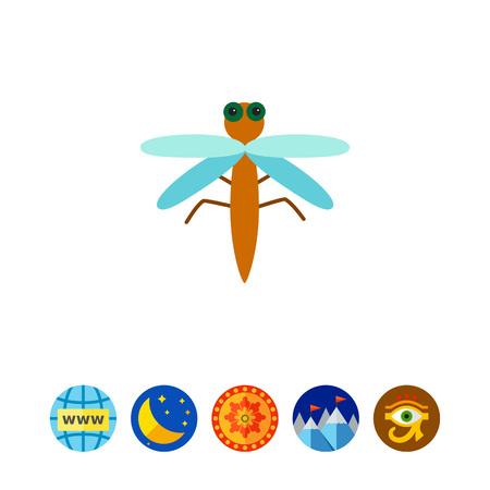 Cartoon dragonfly icon Illustration