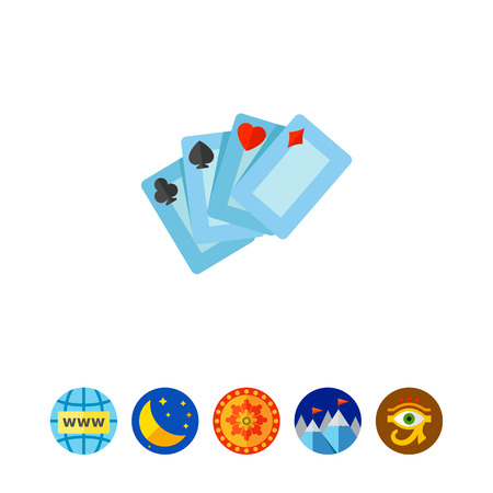 Four playing cards for casino. Club, luck, game. Casino concept. Can be used for topics like gambling, poker, nightlife. Illustration
