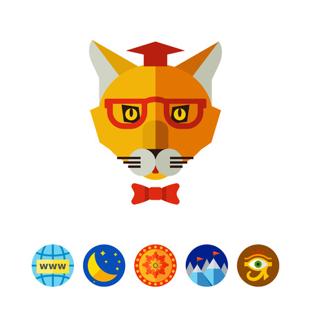 Multicolored vector icon of cat wearing graduation hat, glasses and bow tie Illustration