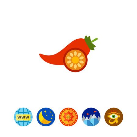 Vector icon of red chili pepper pod and cut pepper half