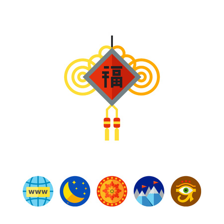 chinese knot: Multicolored vector icon of Chinese New Year amulet with wishes and knots Illustration