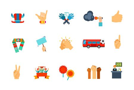 applauding: Fan concept icon set. Hat with horns Surfer shaka Clap hand toy Fire cracker Like gesture Scarf Placard Clapping Fan bus Number one gesture Peace gesture Sport fans Support attribute Protest Sport bar