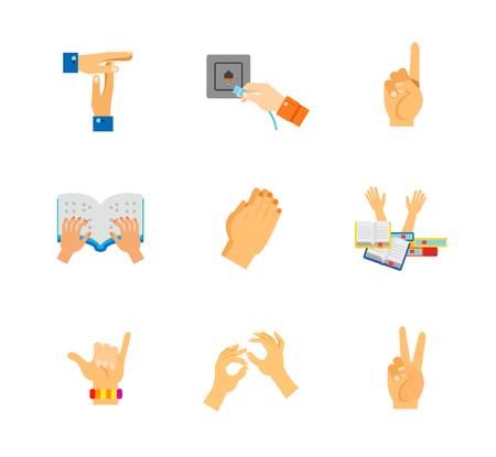 ジェスチャー アイコンを設定。学生ストレス サーファー シャカ身体言語平和を祈るジェスチャー ネットワーク ソケット番号を 1 つのジェスチャー  イラスト・ベクター素材